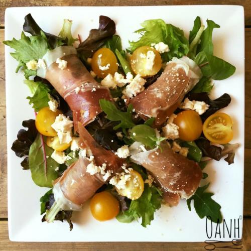 Serranoham salade met feta