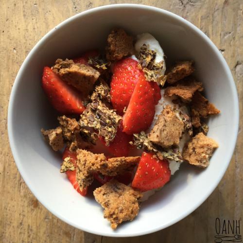 Ontbijt met kaneel crunchies en lijnzaadcrackers