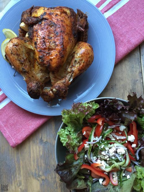 Braadzak kip met een salade
