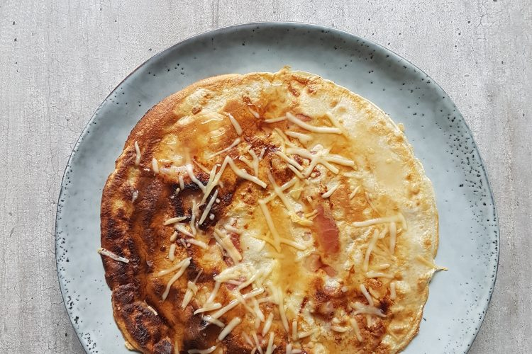 Pannenkoeken bacon kaas en maple syrup!