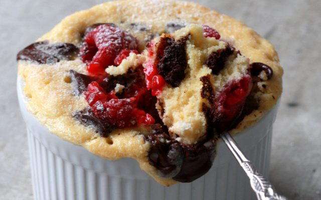 Vanille, choco frambozen mugcake!