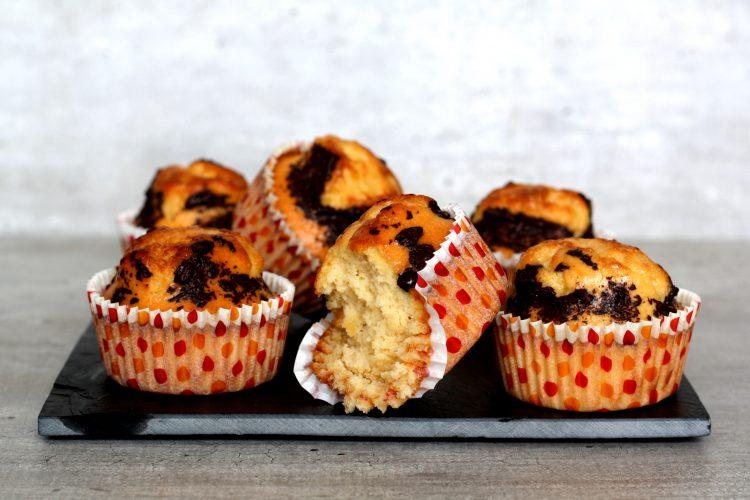 Caramel muffins met choco topping!